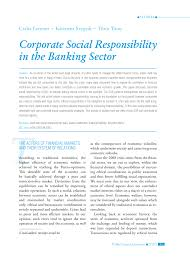 corporate social responsibility in the banking sector pdf corporate social responsibility in the banking sector pdf available