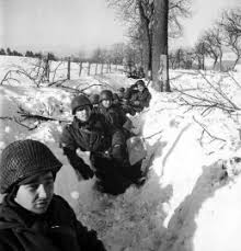 battle of the bulge rare photos from hitler s last gamble  american troops in a snow filled trench during the battle of the bulge