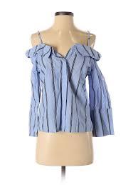 Details About Stradivarius Women Blue Long Sleeve Blouse Sm