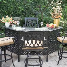 darlee san marcos 5 piece cast aluminum patio party bar set with swivel bar stools