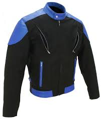 men s vented leather cordura black royal blue jacket