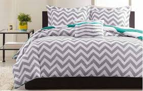 image of gray chevron bedding wide