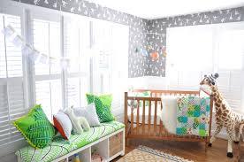 Modern Safari Nursery with Gray Monkey Wallpaper - Project Nursery