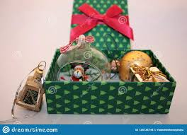Glass Present Box Lights Christmas Green Gift Box With Presents On Light Background