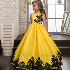 2017 New Princess Satin Lace Applique Yellow Flower Girl Dresses