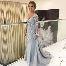 Silver <b>Lace Appliques Long Sleeves</b> Mermaid Evening Dresses For ...