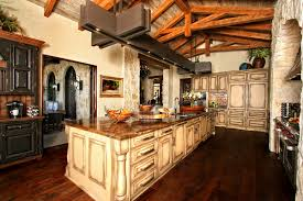 rustic country kitchen designs. Brilliant Kitchen Awesome Rustic Spanish Style Kitchen Decorating Designs With Vintage Off  White Island And Cabinets On Barn Wood Floors As Well Wooden Ceiling Exposed  For Country I