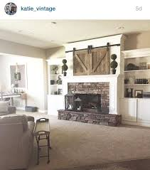 living room with tv over fireplace. Mantle, Barn Doors Over TV. Fireplace Living Room With Tv A
