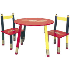 furniture chic small children table and chair set with wooden table and colorful kids chair
