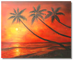 sunset palm tree painting on canvas