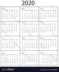Template For 2020 Calendar 2020 Calendar Template Starts Sunday Year