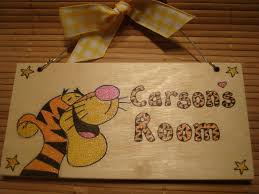tigger handmade wooden personalised childrens bedroom door sign plaque unique one of a kind handmade to order 1