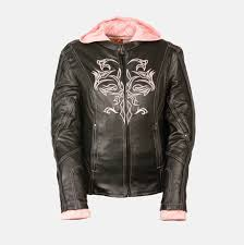 black leather jacket with pink hood