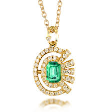 details about 14k yellow gold emerald cut vintage natural diamond emerald pendant jewelry