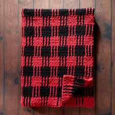 Bernat Crochet Patterns Mesmerizing Bernat Crochet Buffalo Plaid Afghan Yarnspirations