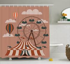 circus decor ferris wheel flying hot air balloons sky clouds fun holiday themed ilration bathroom accessories 69w x 84l inches extra long