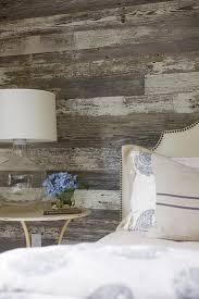 barn board wall with cream headboard