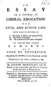 essay on a course of liberal education for civil and active life  title page from joseph priestley s essay on education