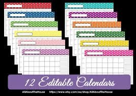 Fillable Calendars 2015 Editable 12 Polka Dot Calendars You Choose 2015 2016 And Etsy