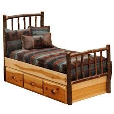 Hickory Traditional Log Bed with Underbed 3 Drawer Dressers - Queen