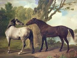 two horses in a landscape painting george stubbs two horses in a landscape art print