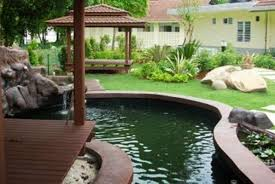 modern home with fish pond decor