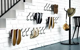 wall shoe storage clever use of hooks to occupy wall space for shoe storage wall mounted
