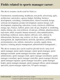 16 fields related to sports manager sports management resume samples