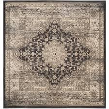 safavieh vintage bijar black ivory square indoor distressed area rug common 7 x