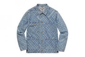 supreme x louis vuitton collaboration denim jacket with supreme and louis vuitton white logo