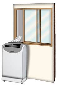 portable ac installed with window kit