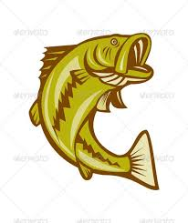 Fishing Tournament Flyer Template Illustration Of A Largemouth Bass Fish Jumping Done In Cartoon Style