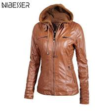 las leather jacket plus size brand leather jacket for women autumn winter motorcycle hooded faux long sleeve pu leather coaty1882402 leather coats jean