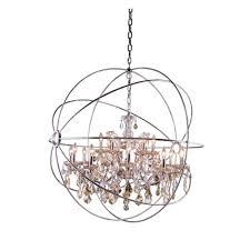 chic and creative brushed nickel crystal chandelier elegant lighting geneva 18 light polished with golden teak