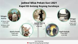 Misa live streaming hari minggu @ 09.30 wita. Kapel Rs Gotong Royong Surabaya