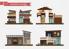 modern private home office. Vector - Flat Illustration Traditional And Modern House. Family Home. Office Building. Private Pavement, Backyard With Garage. Architecture Home