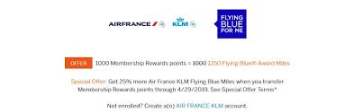 Flying Blue Points Chart Expired 25 Transfer Bonus From Membership Rewards To