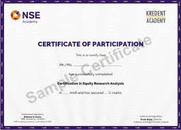 What Is Course Completion Certificate Nse Academy Certified Equity Research Analysis