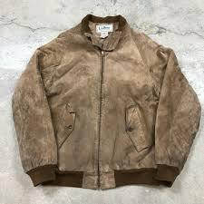 details about vintage ll bean tan suede leather flight er jacket made in usa men s sz 40