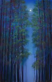 tall trees at night