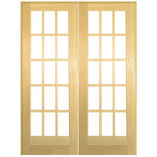 Masonite 72 in. x 80 in. 15-Lite Solid-Core Smooth Unfinished Pine ...