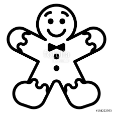 gingerbread man clipart black and white.  Black Cartoon Gingerbread Man Isolated On White Background And Clipart Black T