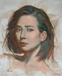 portrait painting original impression oil painting art portrait of chinese canvas by hongtao