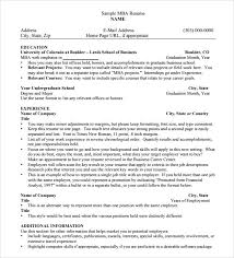 10 Mba Resume Templates Free Samples Examples Format Sample