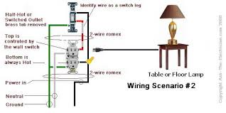 how to wire a switched outlet with wiring diagrams Receptacle Wiring switched outlet wiring diagram 2 power source enters at the outlet receptacle wiring diagram