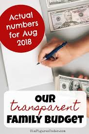 Transparent Family Budget Update August 2018 Six Figures