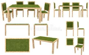 wooden chair front view. Download Wooden Table And Chairs With Grass Cover. Garden Furniture. Top View, Side Chair Front View