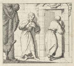 opening door drawing two men at the open door of a room print maker