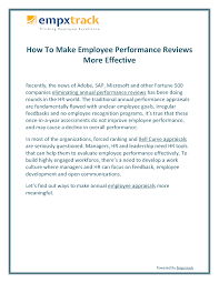 Microsoft Performance Reviews How To Make Employee Performance Reviews More Effective Authorstream