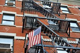 Fire Escape Stairs Outside A New York Apartment Building With - New york apartments outside